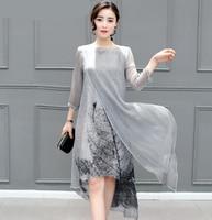 Sexy Summer Autumn Women Cotton Linen Long Dresses Irregular Folk Art Ink Print Casual Plus Size