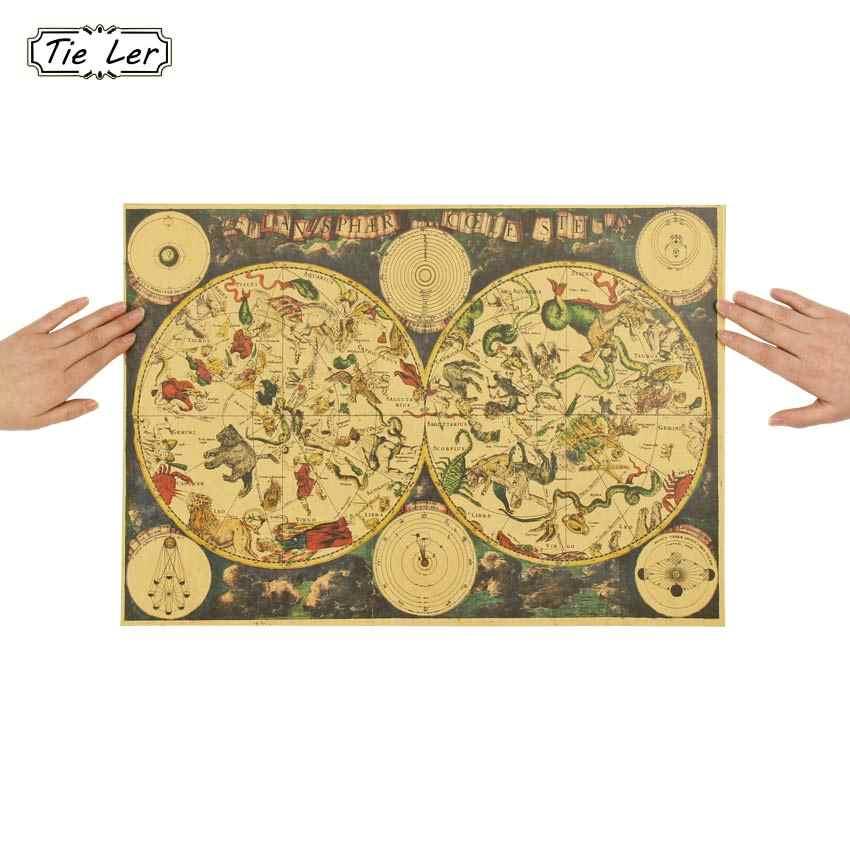 עניבת טיט בציר סגנון רטרו קראפט נייר פוסטר מתנות עתיק גלגל המזלות קונסטליישן מפת פוסטר קיר מדבקת 51.5X36cm