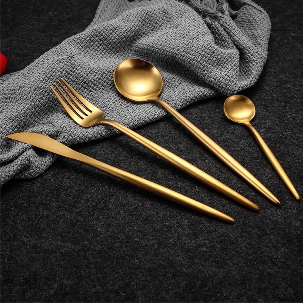 Venta caliente 4 unids/set oro puro europeo vajilla cuchillo de acero inoxidable 304 Occidental cubiertos cocina vajilla Cena