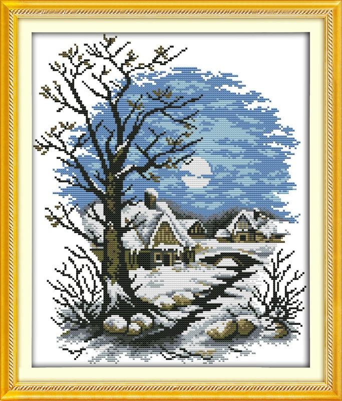 Casa de cuento de hadas de invierno Impreso en lienzo DMC Contado - Artes, artesanía y costura