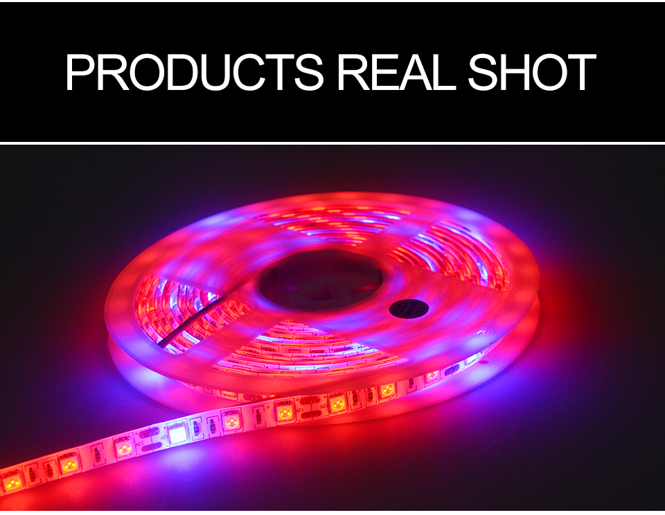 5M Led Plant grow light Waterproof SMD5050 Hydroponic Systems Led Grow Strip Light 300Leds Full spectrum (14)
