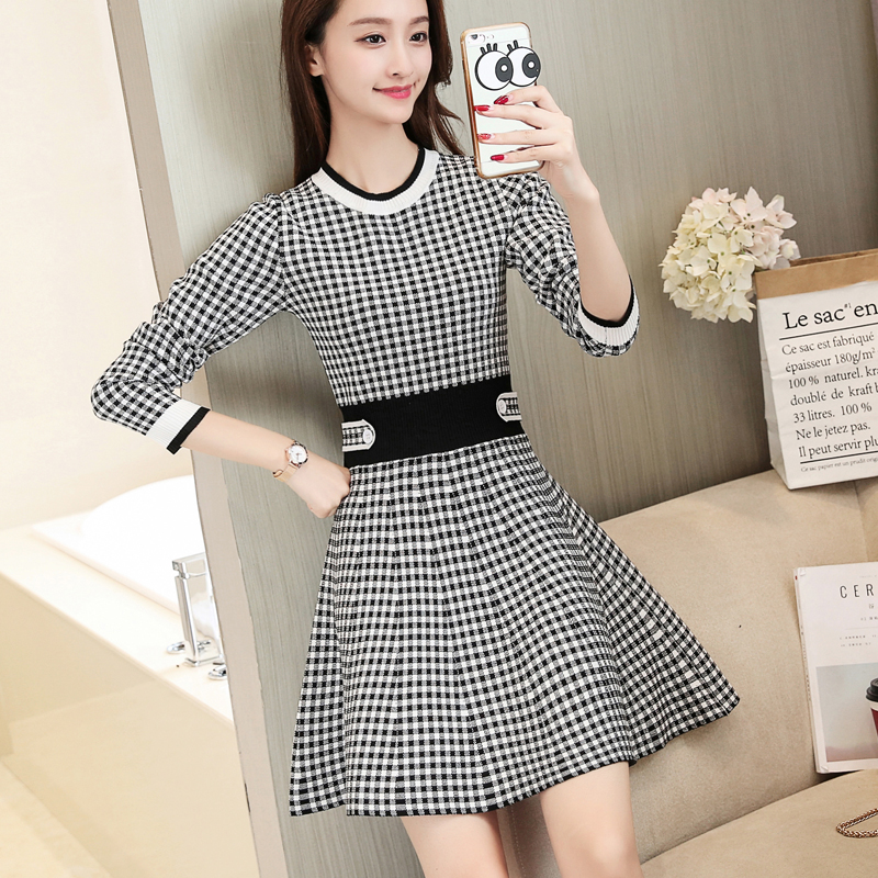 Winter korean fashion sweater dress of long sleeve round collar pullovers knitting o neck women clothes casual costume S-XL
