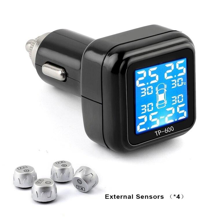 Wireless Smart Car TPMS 12V Digital Tire Pressure Monitoring System Tire Pressure Alarm External Sensor цена