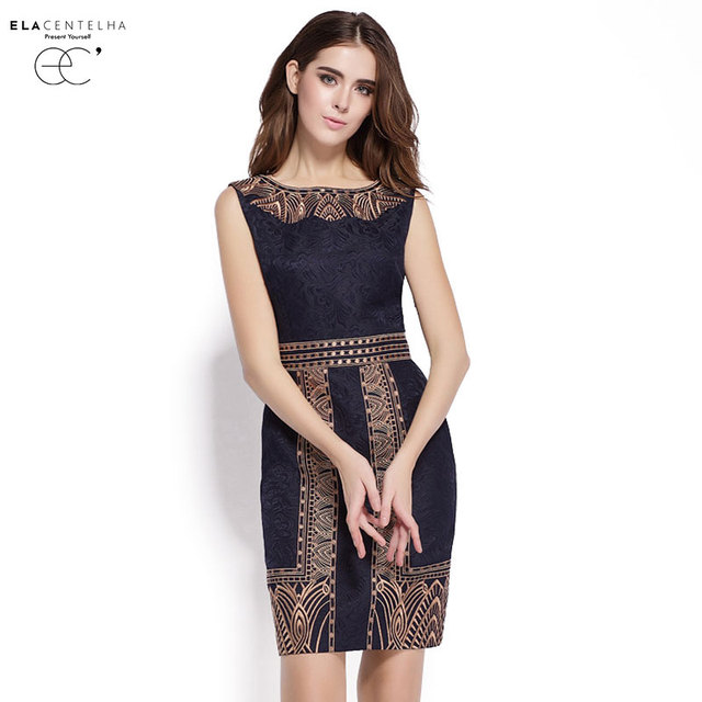 fcafd317e2a ElaCentelha Brand Dress Summer Women High Quality Embroidery Print Dress  Casual Sleeveless Slim Waist Women s OL