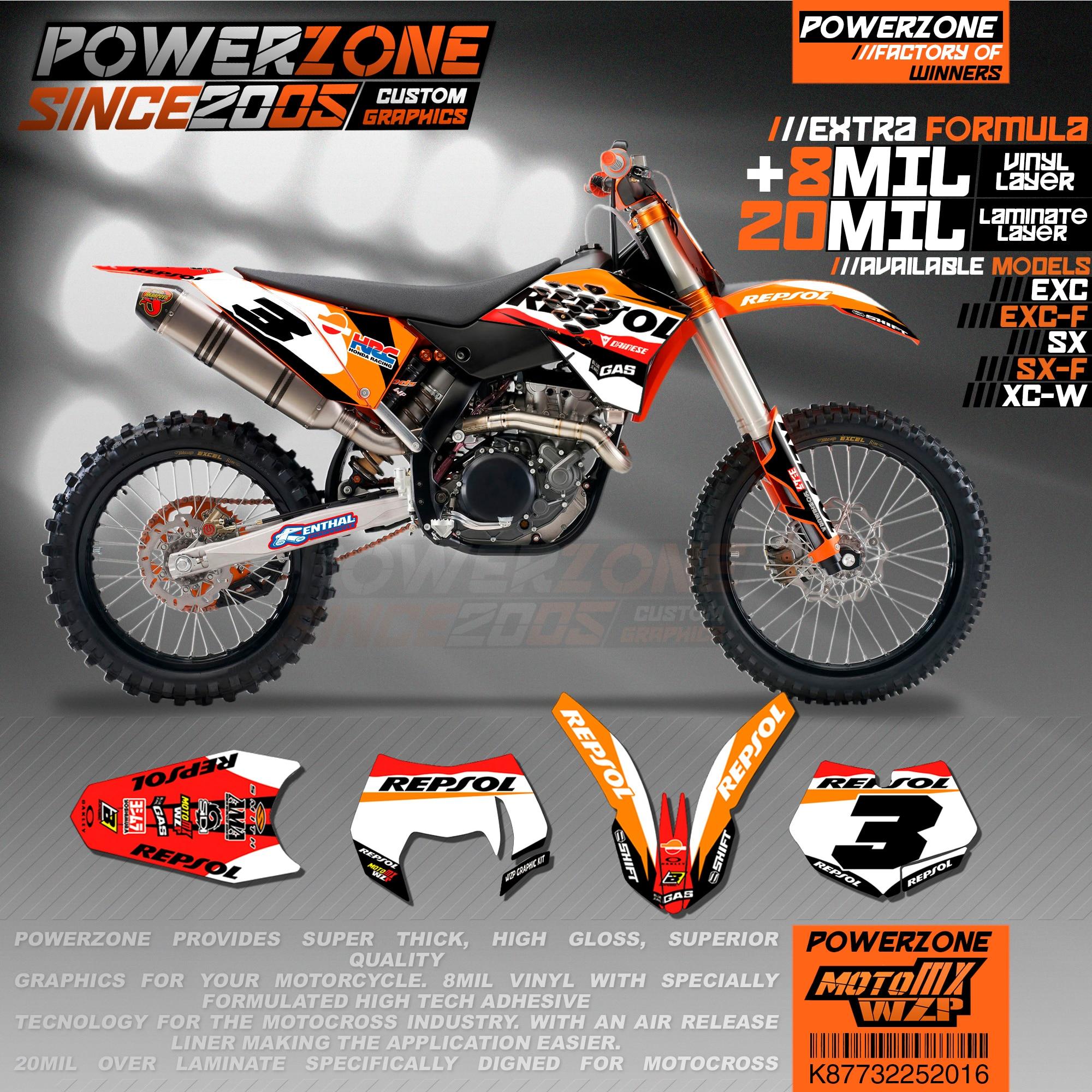 PowerZone カスタムチームグラフィック背景 3 メートルステッカーキット KTM SX SXF MX EXC XCW エンデューロ 125cc に 500cc 2007 2011 016  グループ上の 自動車 &バイク からの デカール &ステッカー の中 1