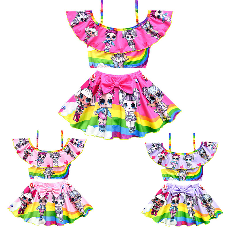 New Girls Cartoon Pattern Swimsuit Two-piece Kids Anime Cosplay Sling Swimsuit Beach Swimsuit Split Hollow Falbala Bikini Set