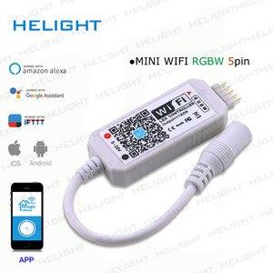 Image 2 - DC12 28V мини WIFI RGB/RGBW контроллер полосы музыкальный контроллер Alexa Google домашний телефон WIFI контроллер для полосы светильник