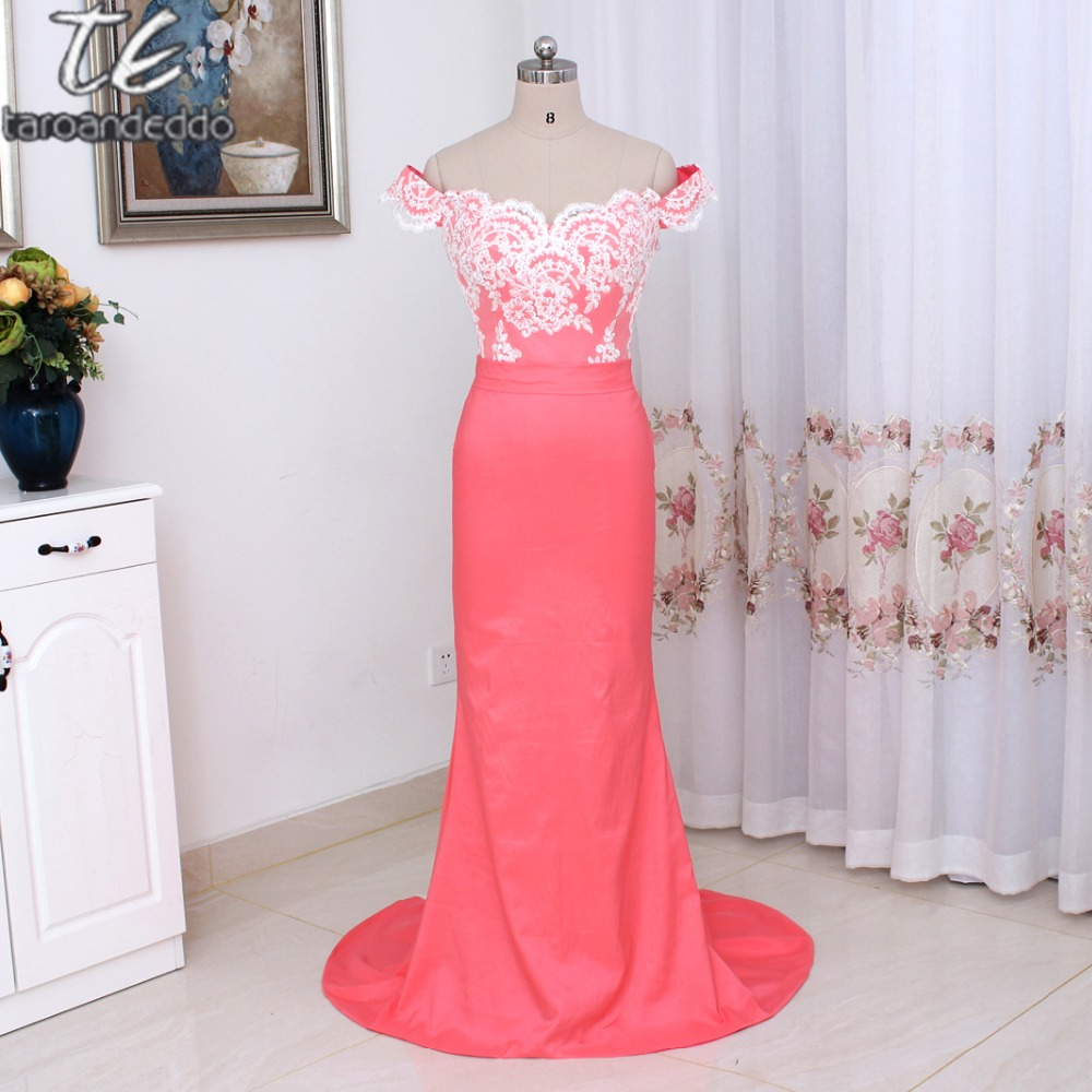 Off the Shoulder Applique Mermaid Cutout Train Sexy   Bridesmaid     Dress   Watermelon/Coral Chiffon Long Formal Party   Dress