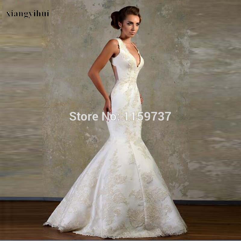 european style mermaid design bridal dress luxury backless brush train wedding dress with lace flowers custom