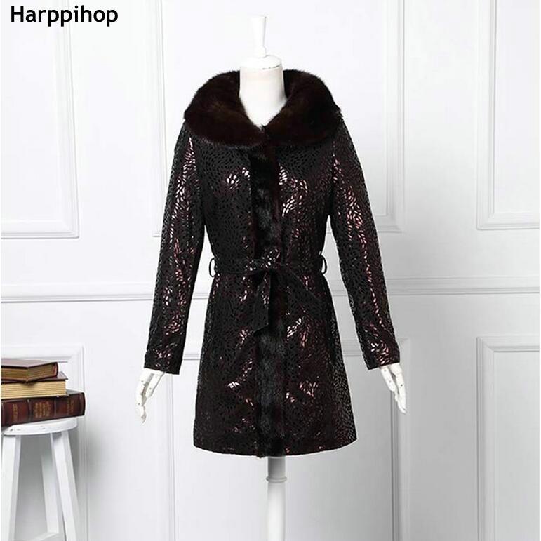 2018 Luxury Genuine Printed Sheepskin Leather Down Parkas Coat mink Fur Collar Winter Women Fur Outerwear Coats