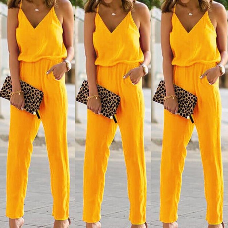 Elegant Bodycon Spaghetti Strap Cotton Jumpsuits Women Sexy Backless Sleeveless Beep V-Neck Camisole Summer Romper