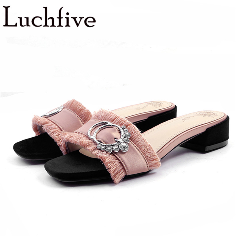 Summer satin Women Slippers metal ring crysatl pink black Ladies low heel sandals fringe tassel rhinestone 2018 Beach Shoes mnixuan women slippers sandals summer