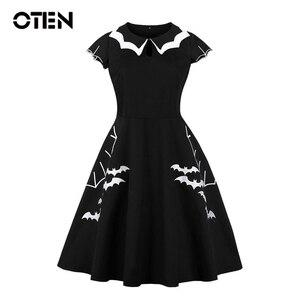 Женское винтажное платье с рукавом-крылышком OTEN, черное платье с вышивкой летучей мыши в стиле ретро, рокабилли, для Хэллоуина, 2019