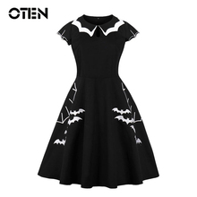 OTEN Large Size Clothing 2018 Women Cap Sleeve Bat Embroidery Retro Rockabilly Pin up Skater Swing Black Halloween Party dress цена 2017