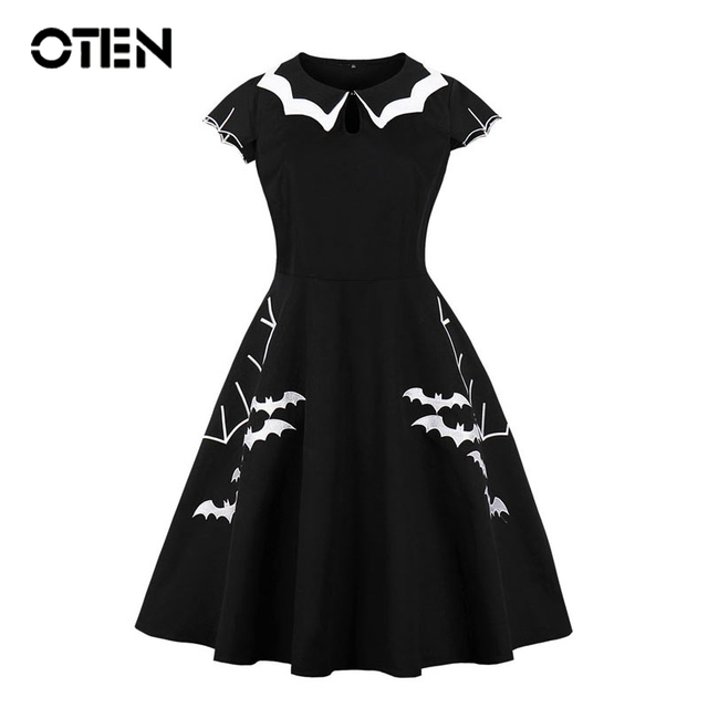 58b101f9d53e3 US $19.49 35% OFF|OTEN Large Size Clothing 2018 Women Cap Sleeve Bat  Embroidery Retro Rockabilly Pin up Skater Swing Black Halloween Party  dress-in ...