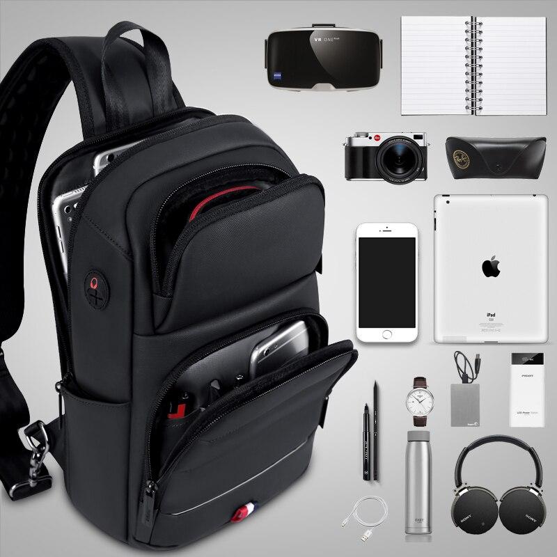 FRN Sacos Crossbody para Sacos de Homens Mensageiro Sling Bag Peito À Prova D' Água Oxford Saco de Carregamento USB Alça de Ombro Único Pacote de 2019 Nova