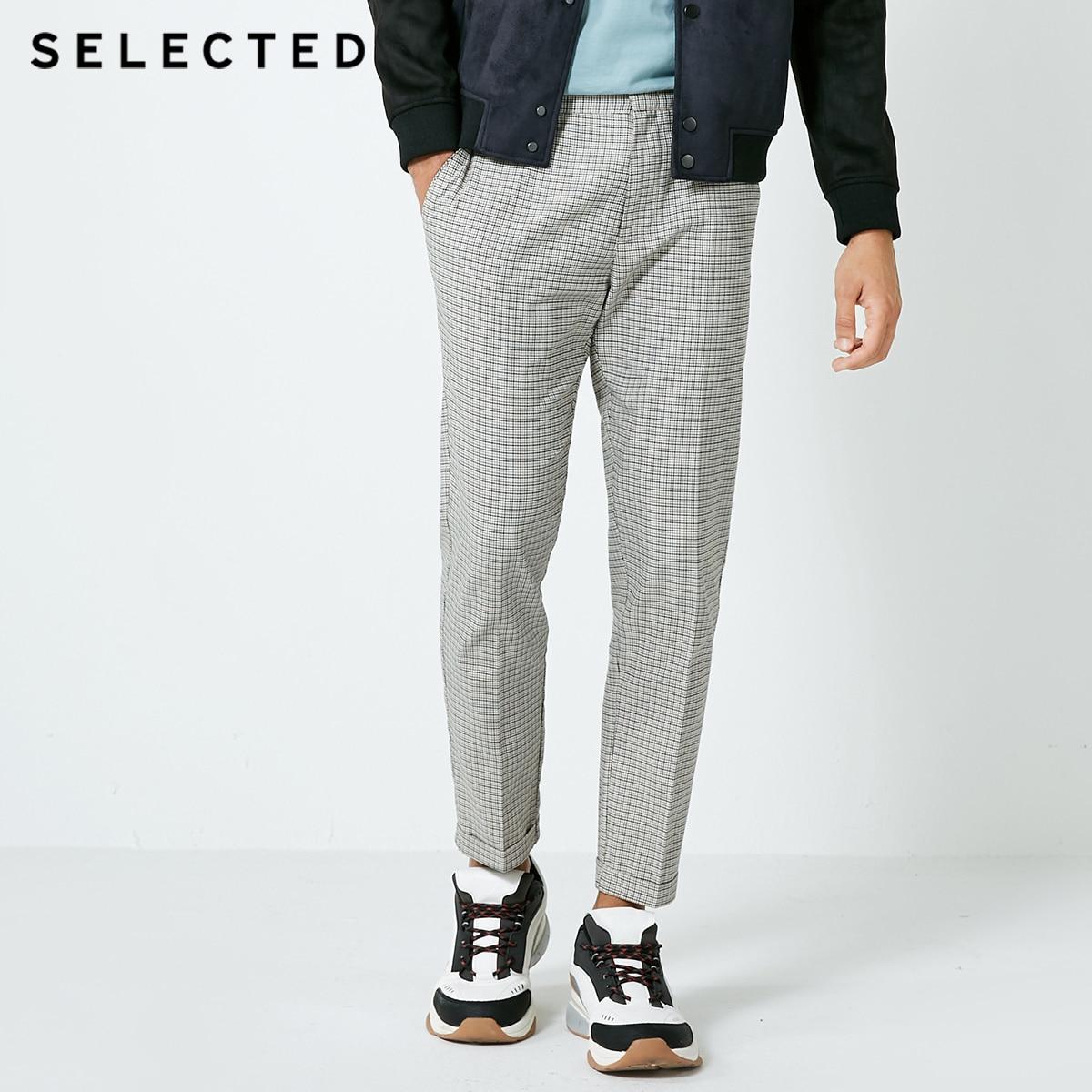SELECTED autumn new men s pure cotton lattice business casual pants S 418314507