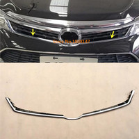 Car Garnish ABS Chrome Front Engine Machine Grille Grill Upper Hood Stick Lid Trim Lamp 1pcs For Toyota Camry 2015 2016 2017