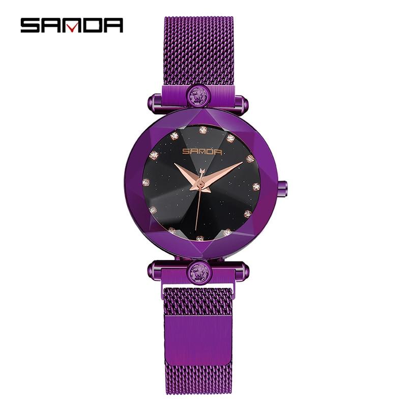 Starry Sky Women's Luxury Watch Diamond Metal Mesh Band Stainless Steel Analog Quartz Wristwatch Hot Sale 2018 Female Watches 4