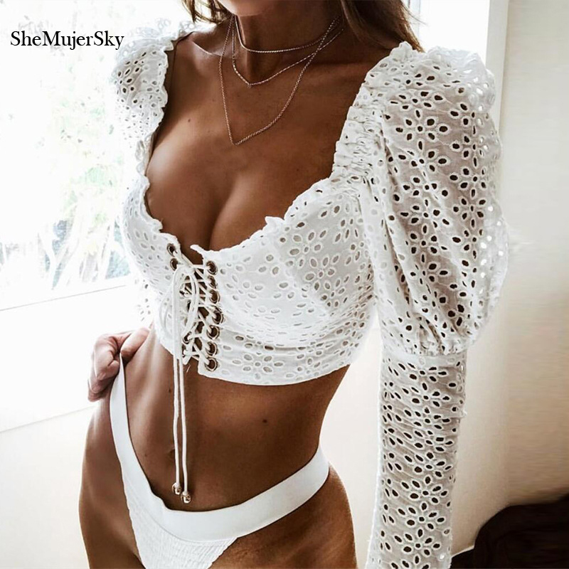 SheMujerSky White Blouse Lace Crop Top Women Sexy Hollow Out Flare Sleeve Blouses Bandage Shirts Blusa Mujer