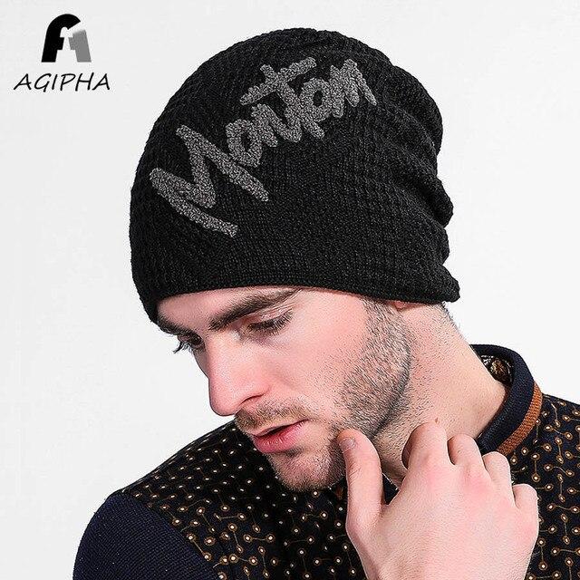 Nuevo estilo engrosado punto invierno Skullies gorros sombrero para las  mujeres hombres moda carta patrón sombrero 4fa4ab1f3d4
