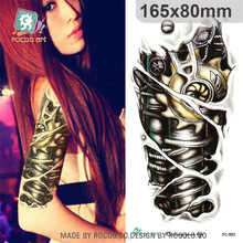 individuality waterproof temporary tattoos for men metal mechanical arm design large tattoo sticker Free Shipping FC2503