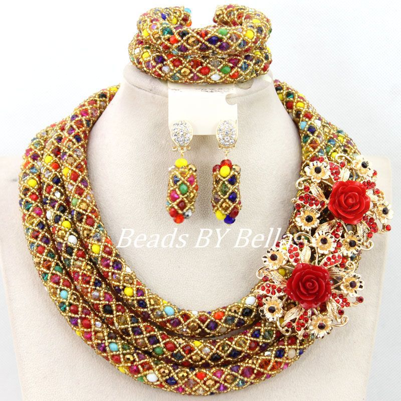 Luxury Nigerian Wedding African Jewelry Set Colourful Crystal Beads Necklace Set Costume Bridal Jewelry Set Free Shipping ABY832 luxury african beads bridal jewelry set 3 rows green crystal balls necklace set women costume jewelry set free shipping abc990
