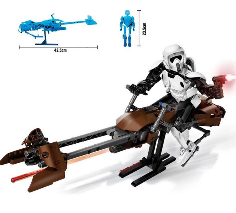 2017 Nuevo 321 452 piezas StarWars Imperial tormenta Scout Troopers Speeder bicicleta bloque de construcción Compatible legoingy 75532 ladrillo juguete