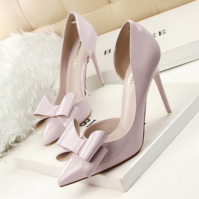 2017 Summer Sweet Women Shoes Pumps Thin High Heeled Shallow Mouth Pointed Toe Sexy Cut Outs Patent Leather Bowtie SMYDS-A0119