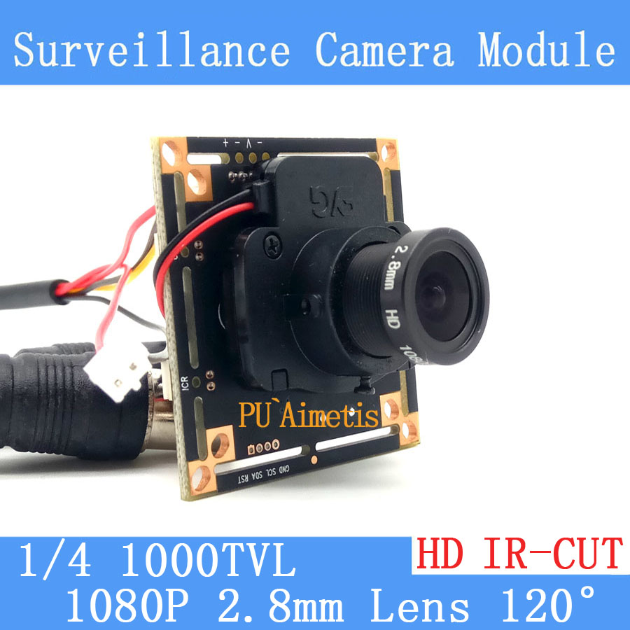1000TVL CMOS Security Camera PCB Board Module with 1080P 2.8mm Lens IR CUT Filter smar home security 1000tvl surveillance camera 36 ir infrared leds with 3 6mm wide lens built in ir cut filter