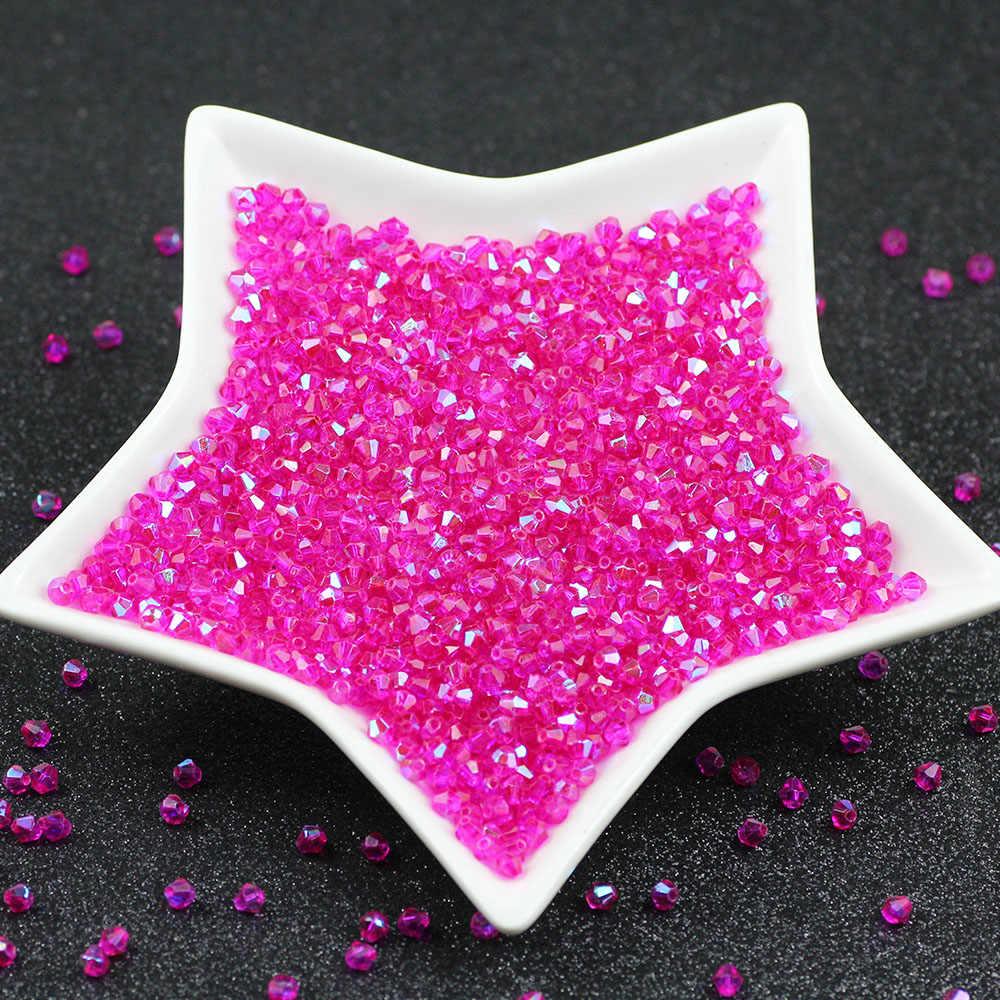 Hot pink AB facetado Contas De Vidro Cristal Austríaco 4mm 100pcs Rose Red Solto Espaçador Bicone Beads para Jóias fazer DIY acessó