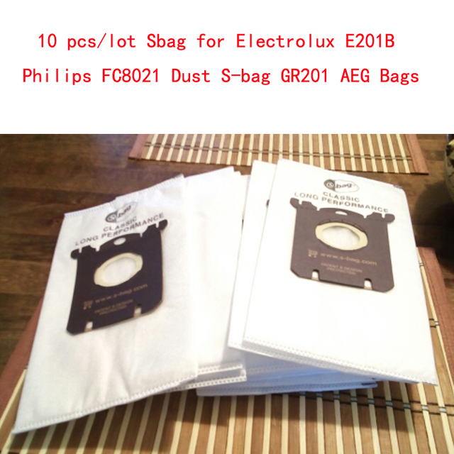 10 pçs/lote E201B Philips Sbag para Electrolux Sbag FC8021 Poeira GR201 AEG Sacos