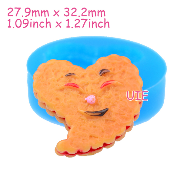 QYL092U 32.2mm Heart Funny Face Biscuit Silicone Mold - Cake Decoration, Fondant Craft, Cookie, Resin, Gum Paste, Chocolate Wax