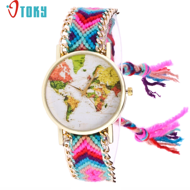 OTOKY Brand Handmade Braided Map Bracelet Watch Ladies Rope Watch Quarzt Watches Relogio Feminino 1Pc Dropship