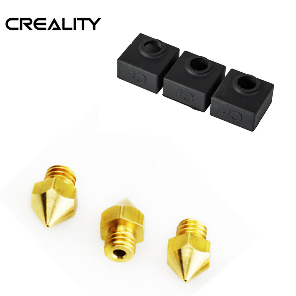 Original Creality 3D Printer Parts Heater 3PCS Block Silicone Cover Add 3PCS 0.4MM Nozzles For CREALITY 3D Ender-3/CR-10 SeriesOriginal Creality 3D Printer Parts Heater 3PCS Block Silicone Cover Add 3PCS 0.4MM Nozzles For CREALITY 3D Ender-3/CR-10 Series