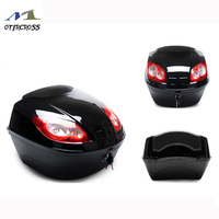 Universal Motorcycle Rear Storage Box Tail Luggage Trunk Case Toolbox Scooter Motorbike Storage Helmet With Safety Lock Buckle