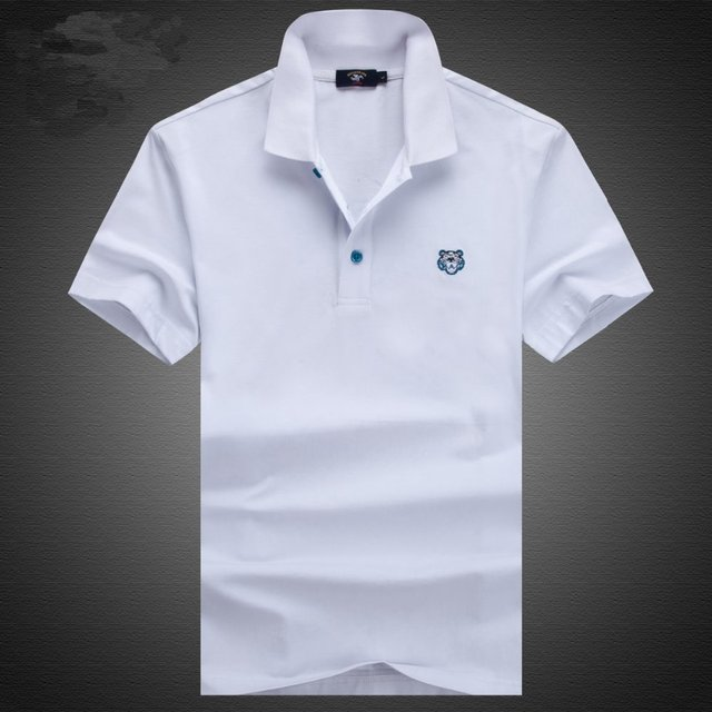 Lion Animal Logo White Black Mans Polo Homme Short Sleeve Pique