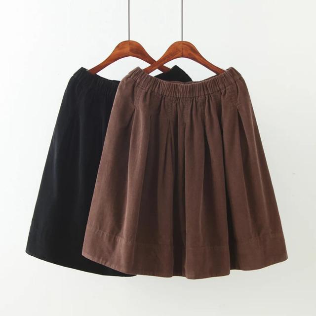 Falda de gran tamaño XXL 3XL mujeres otoño 2016 de las mujeres más el tamaño de algodón de nylon falda europea Una Línea de tira de bolsillo elástico en la cintura faldas