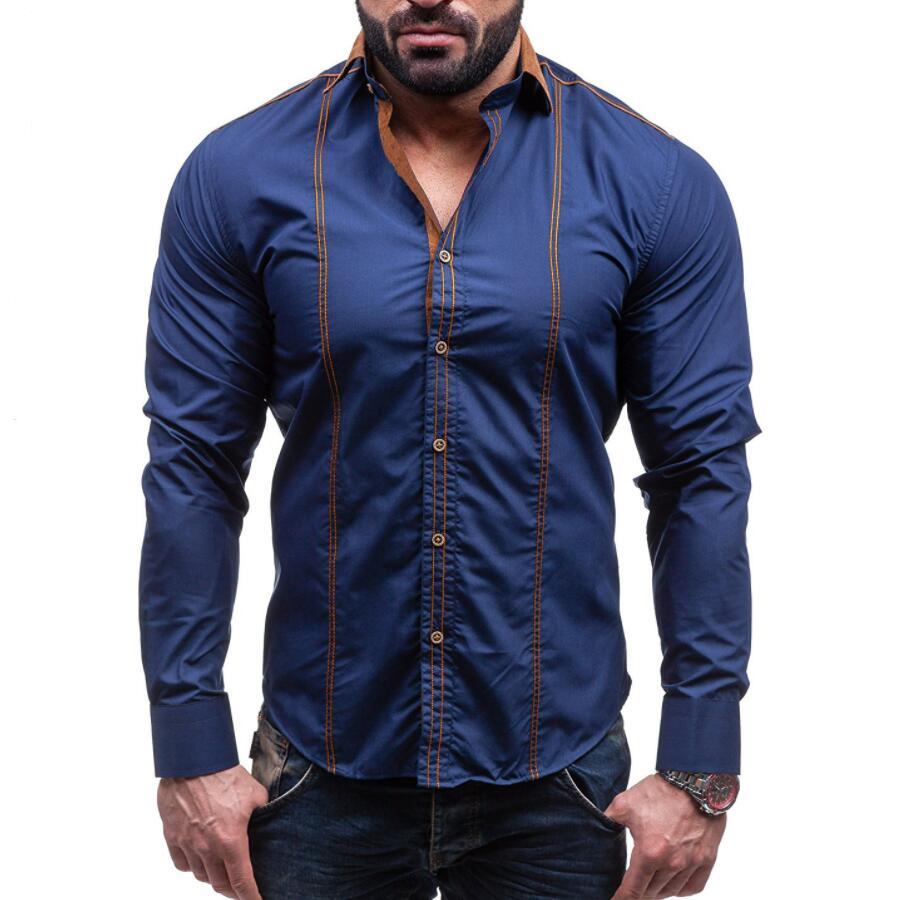 2017 Men S Casual Shirt Fashion Brand Clothing Slim Men S Long Sleeve Shirt White Casual