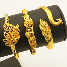 24K Gold Dubai Sand Gold Dragon and Phoenix Female Models Bracelets Thick 24K Gold Never Fade The Wholesale Mother's days gifts
