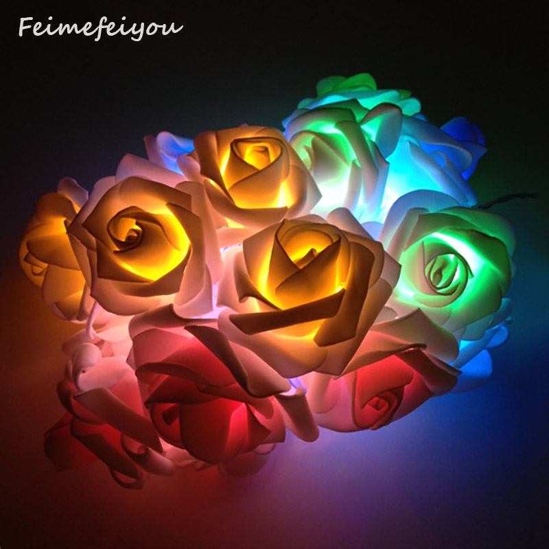 Feimefeiyou 2m 20 LED Rose Bunga LED String Lights Bateri yang Diadakan Acara Pernikahan Krismas Birthday Party Decoration Lightings