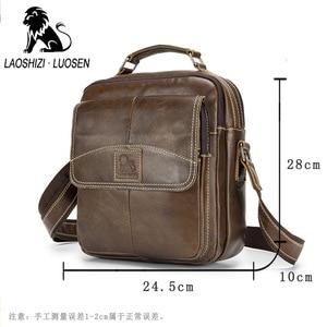 Image 5 - Laoshizi Olie Lederen Schoudertas Crossbag Mannelijke Lederen Tas Mannelijke Toevallige Grote Capaciteit Kleine Flap Handtas