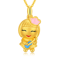 New Arrival Pure 999 Yellow Gold Angel Pendant 3D Baby Pendant