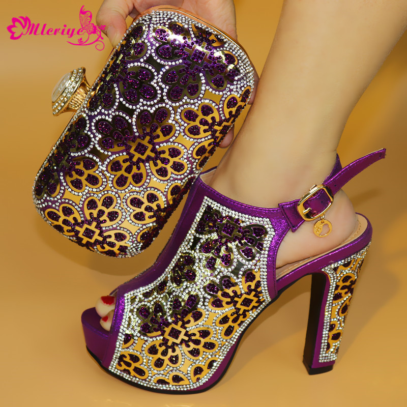 a19-3 African Sets Purple Color Italian Shoes with Matching Bags High Quality Women Shoe and Bag To Match for Parties 2017 italian shoes with matching bags to match wine color new african shoes and matching bag sets for party 1703v0322d30 10