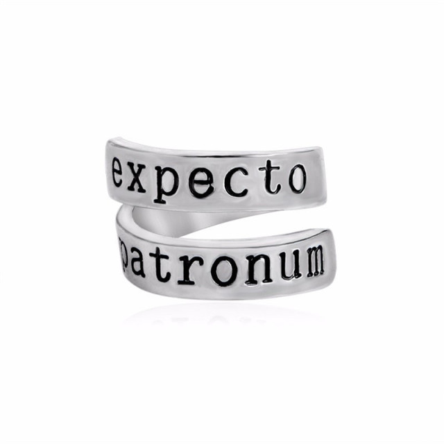 Expecto Patronum Twisted Ring for Women Men Silver Color Adjustable Opening Doub