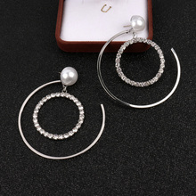 XIAO YOUNG 925 Silver Needle Statement Metal Circle Drop Earrings For Women Personality Rhinestone Korean New Design