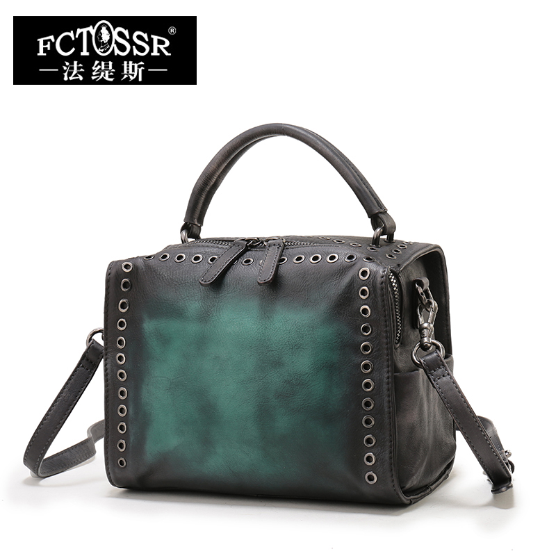 Cowhide Handbags Shoulder Bags Vintage Genuine Leather Ladies Messenger Bags Handmade Female Crossbody Small Bags women genuine leather handbags ladies personality new head layer cowhide shoulder messenger bags hand rub color female handbags