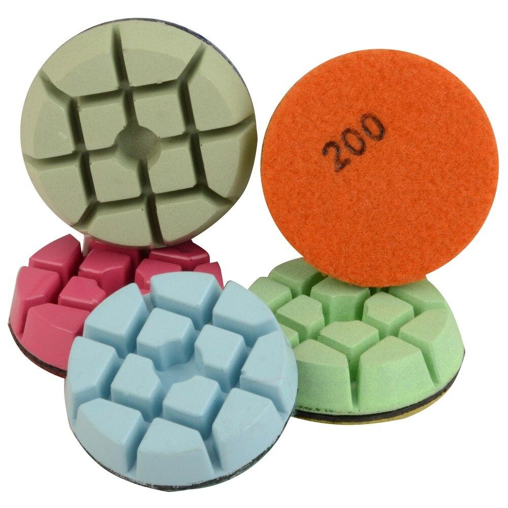 Tampons de polissage de sol diamant 80mm pour béton 3 pouces Set grain 50 à 3000 résine polissage à sec Surface de marbre granit