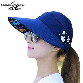 цена на BINGYUANHAOXUAN 2018 Summer Foldable Flower Decoration Solid Color Sun UV Protection Hat Casual Travel Beach Sun Cap For Women