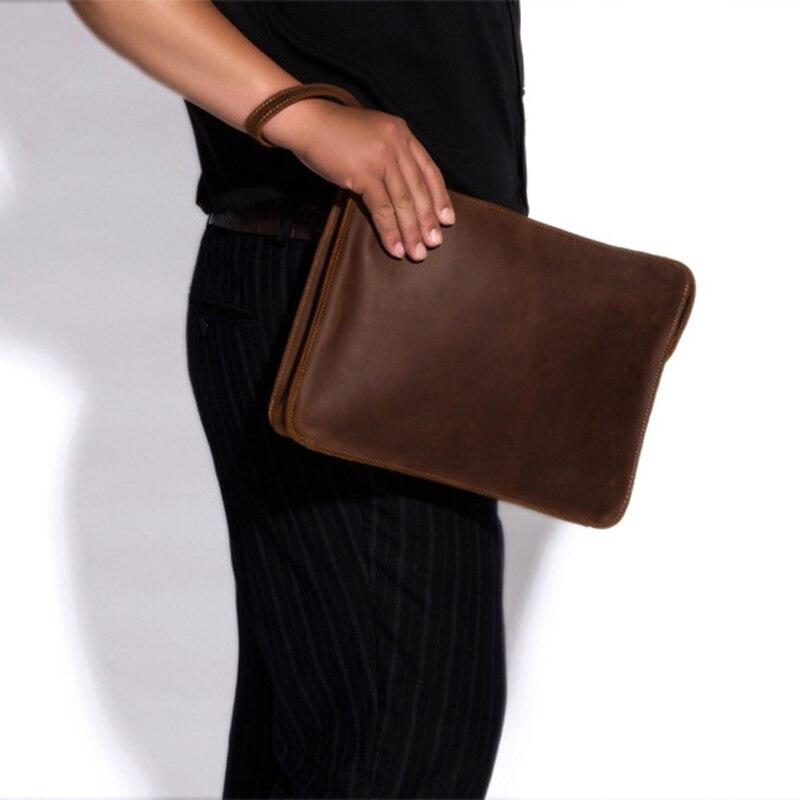 Sacs à bandoulière pour hommes en cuir véritable porte-documents porte-documents sac à main pour homme pochette pour Ipad
